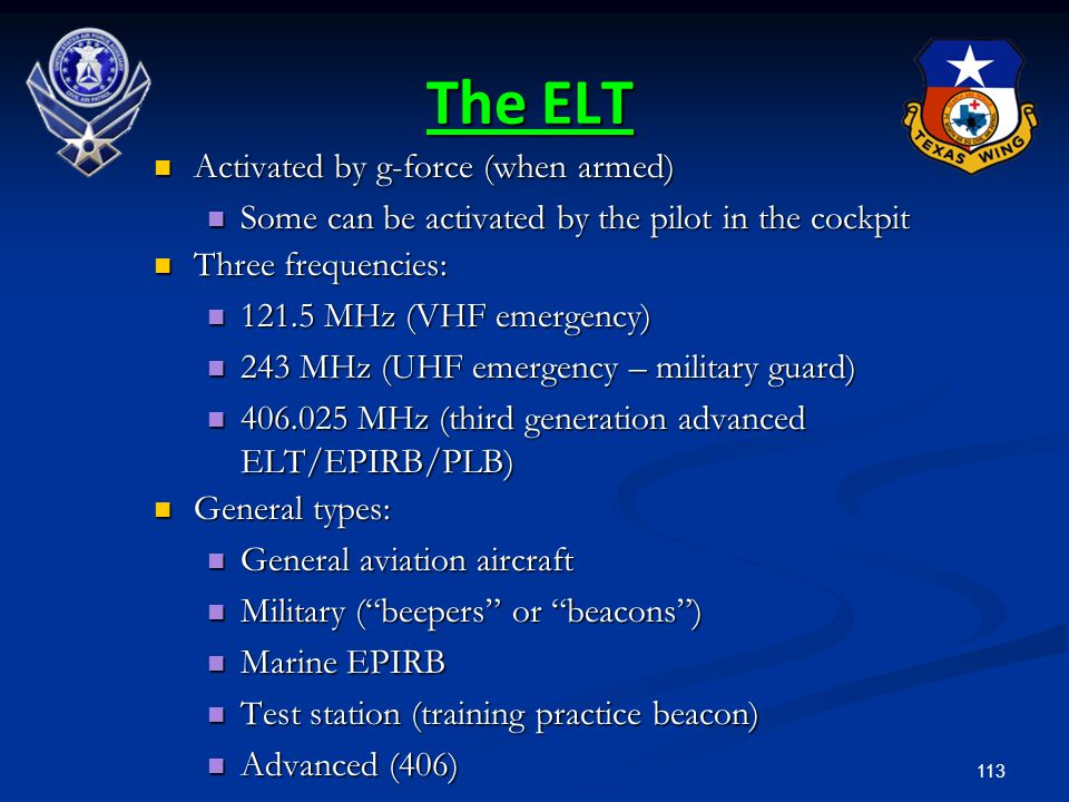 The ELT Activated by g-force (when armed)