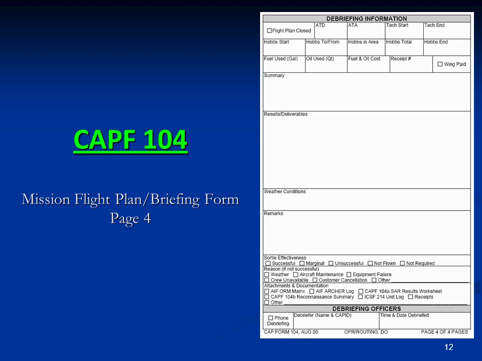 CAPF 104 Mission Flight Plan/Briefing Form Page 4