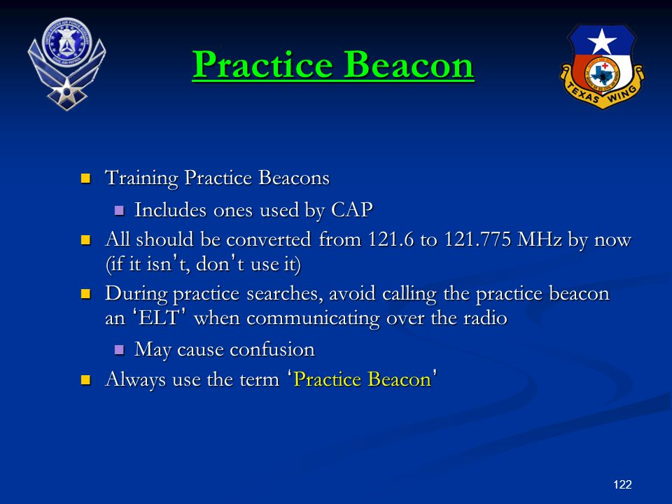 Practice Beacon Training Practice Beacons Includes ones used by CAP