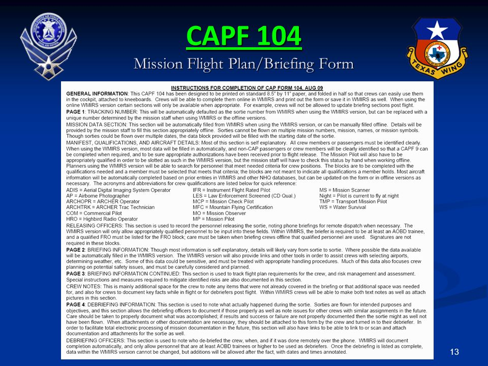 CAPF 104 Mission Flight Plan/Briefing Form