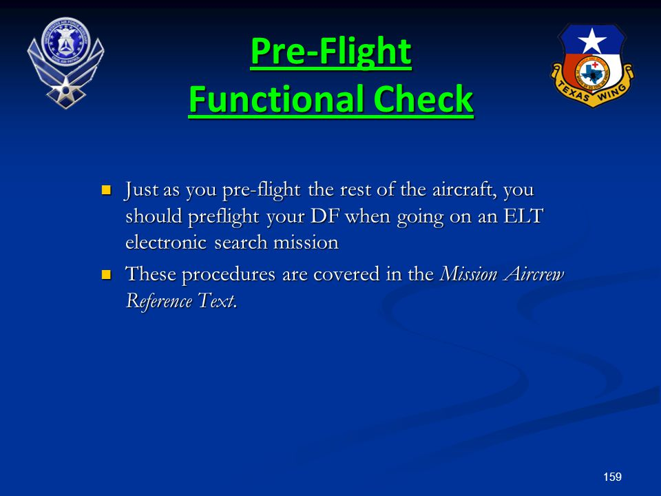 Pre-Flight Functional Check