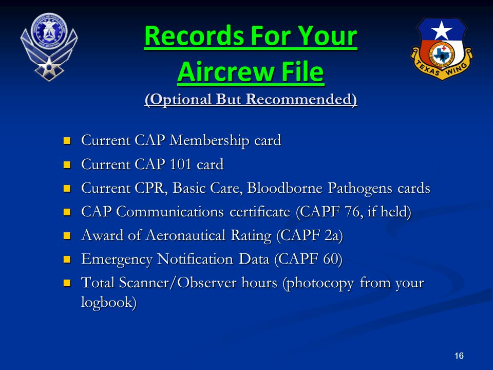 Records For Your Aircrew File (Optional But Recommended)