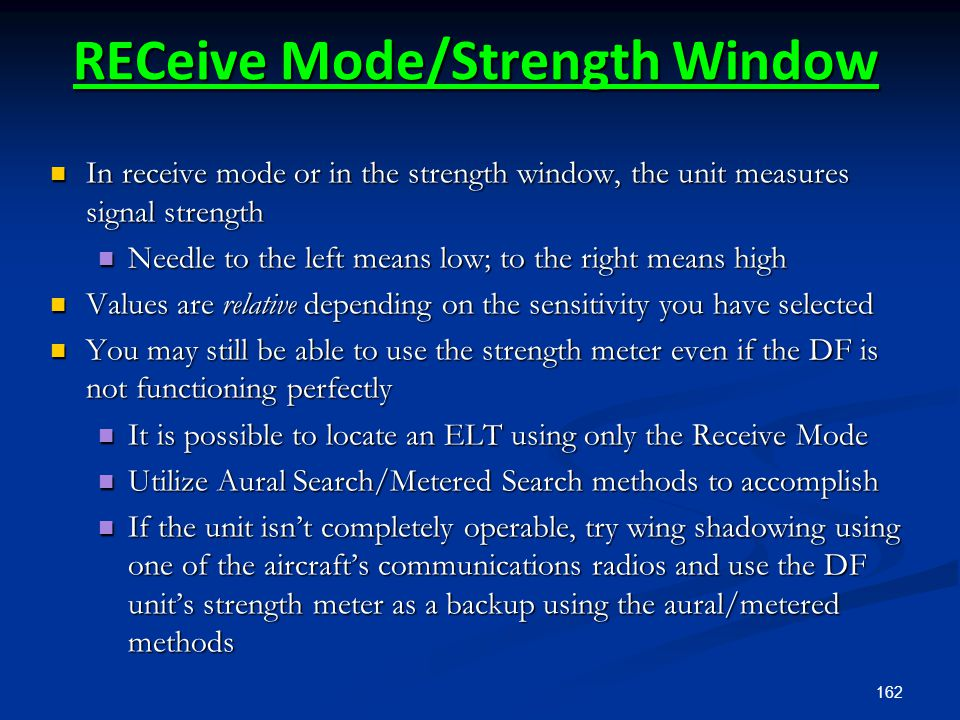 RECeive Mode/Strength Window