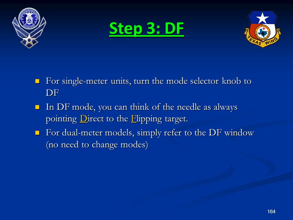 Step 3: DF For single-meter units, turn the mode selector knob to DF