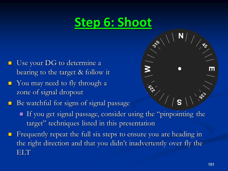 Step 6: Shoot N. S. E. W. 45. 135. 225. 315. Use your DG to determine a bearing to the target & follow it.