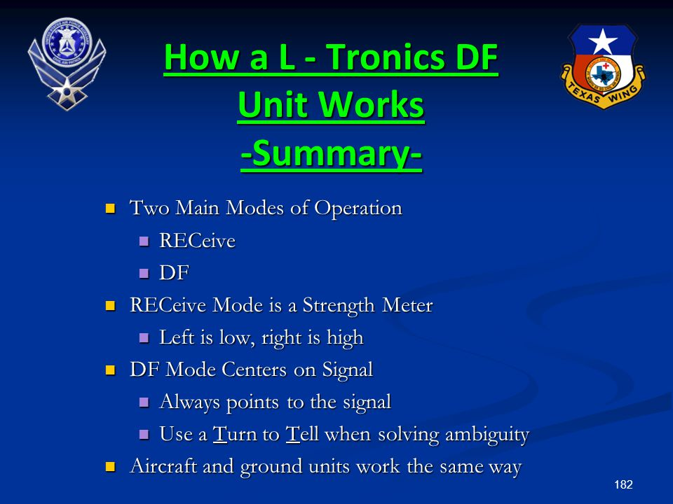 How a L - Tronics DF Unit Works -Summary-
