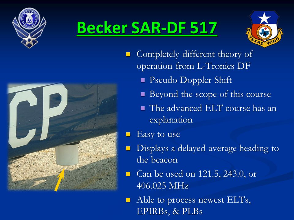 Becker SAR-DF 517 Completely different theory of operation from L-Tronics DF. Pseudo Doppler Shift.