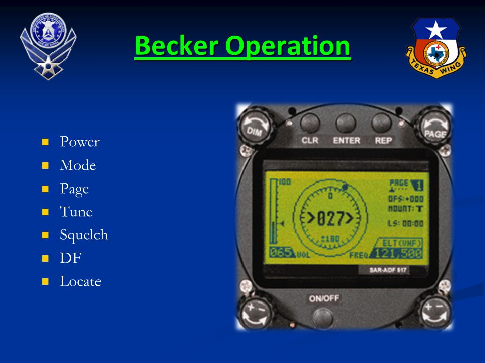 Becker Operation Power Mode Page Tune Squelch DF Locate