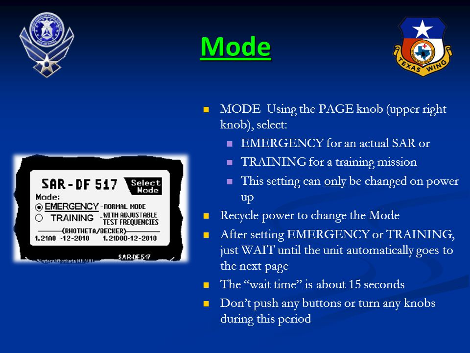 Mode MODE Using the PAGE knob (upper right knob), select: