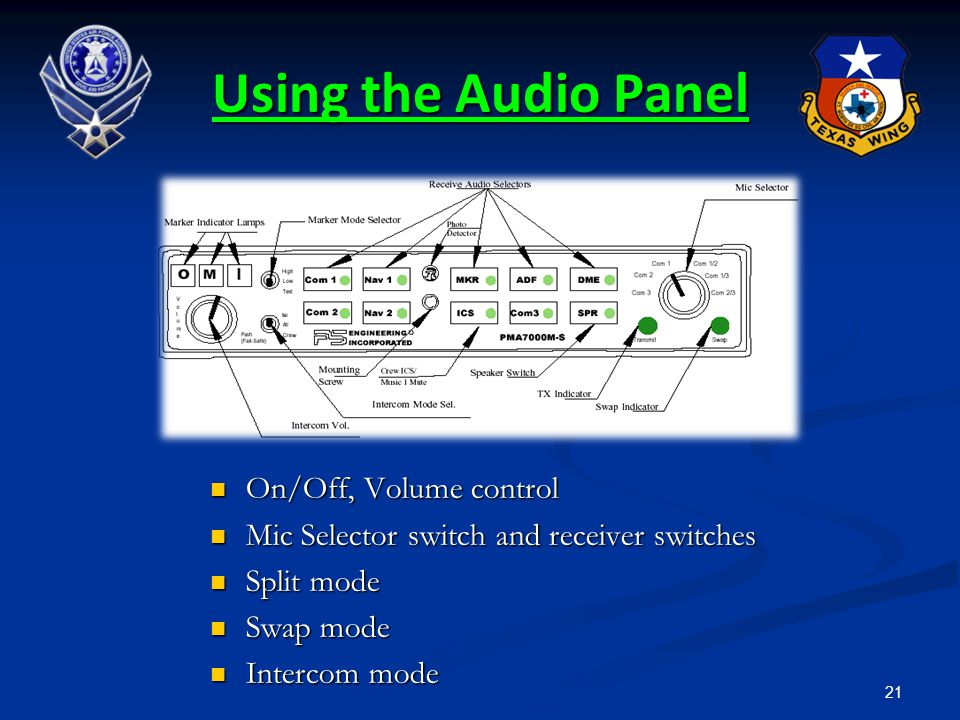 Using the Audio Panel On/Off, Volume control
