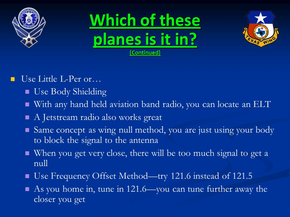Which of these planes is it in (Continued)