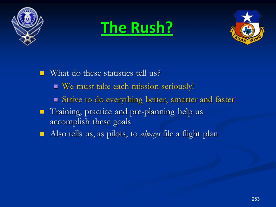 The Rush What do these statistics tell us