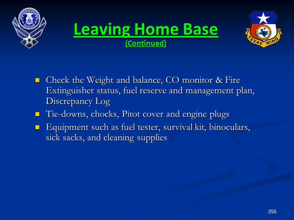 Leaving Home Base (Continued)