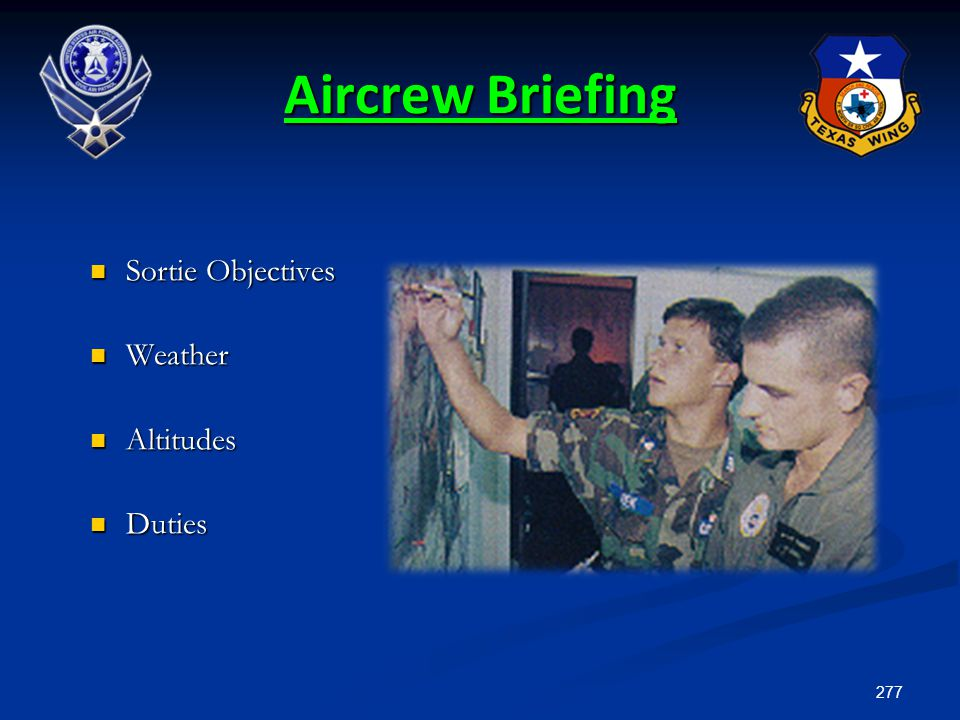 Aircrew Briefing Sortie Objectives Weather Altitudes Duties 13.5