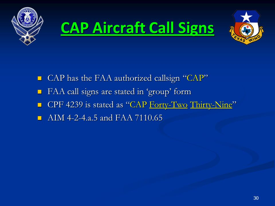 CAP Aircraft Call Signs