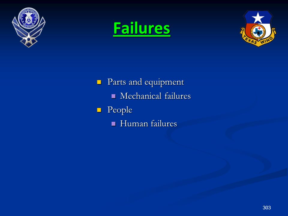Failures Parts and equipment Mechanical failures People Human failures