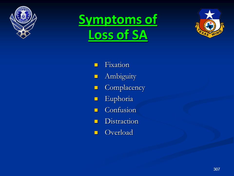 Symptoms of Loss of SA Fixation Ambiguity Complacency Euphoria