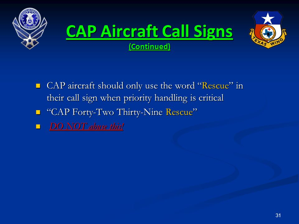 CAP Aircraft Call Signs (Continued)