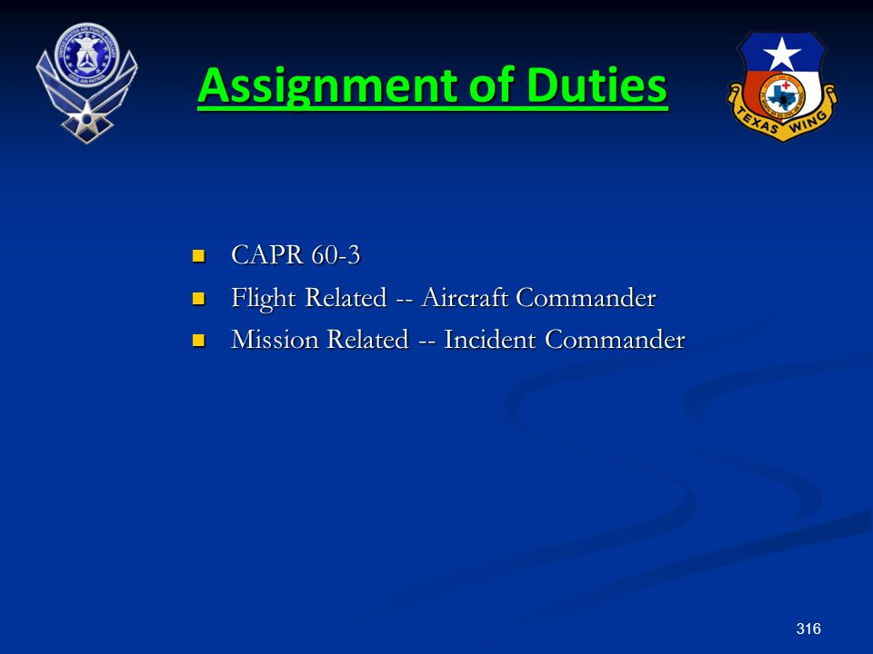 Assignment of Duties CAPR 60-3 Flight Related -- Aircraft Commander