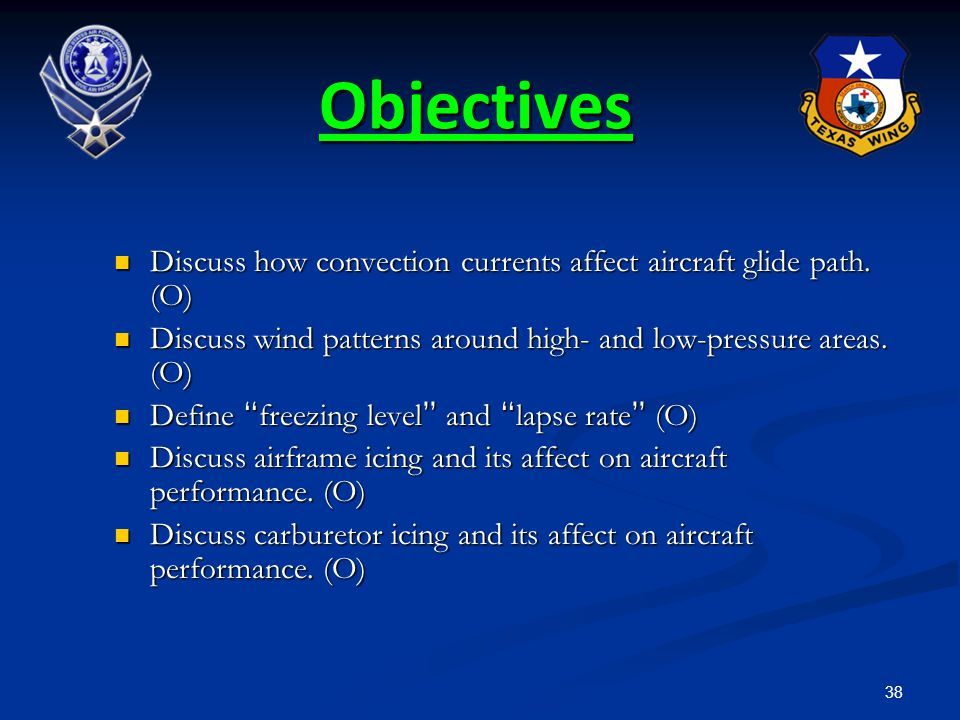 Objectives Discuss how convection currents affect aircraft glide path. (O) Discuss wind patterns around high- and low-pressure areas. (O)