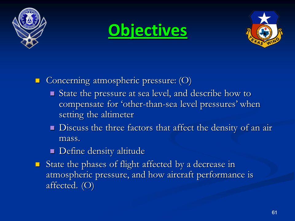 Objectives Concerning atmospheric pressure: (O)