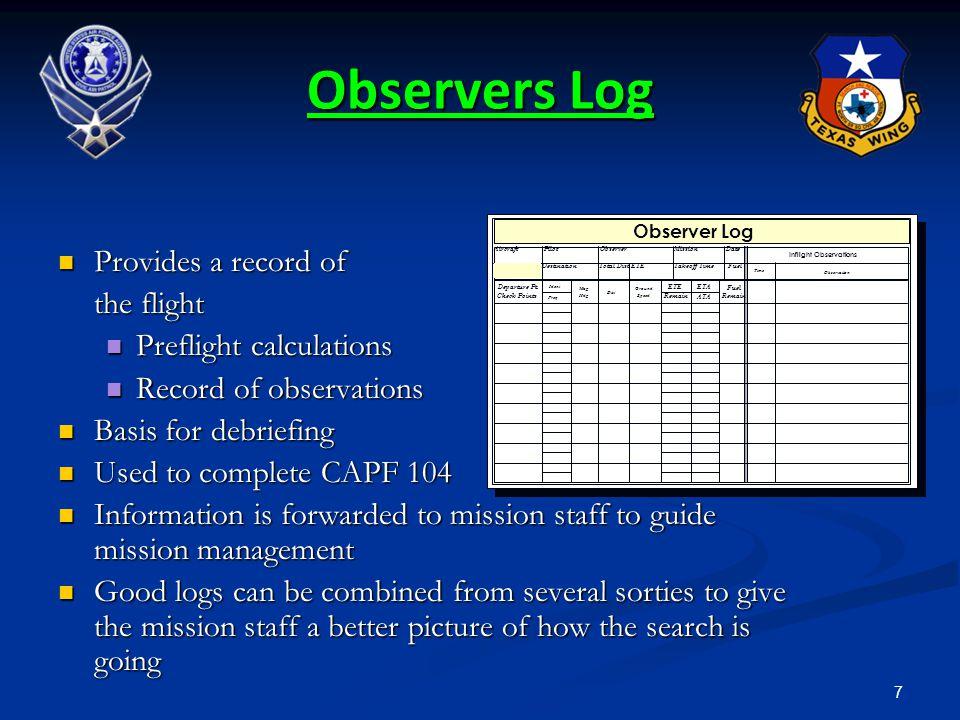 Inflight Observations