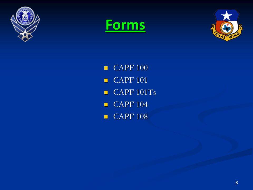 Forms CAPF 100 CAPF 101 CAPF 101Ts CAPF 104 CAPF 108