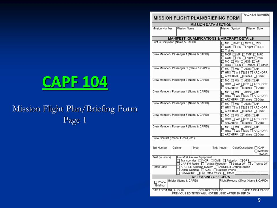CAPF 104 Mission Flight Plan/Briefing Form Page 1