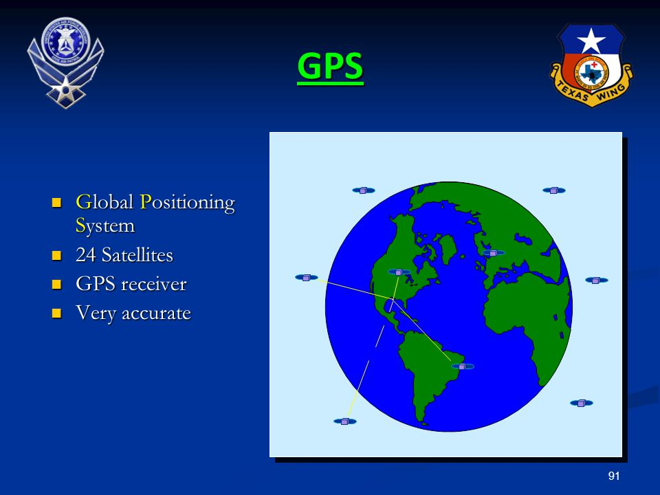 GPS Global Positioning System 24 Satellites GPS receiver Very accurate