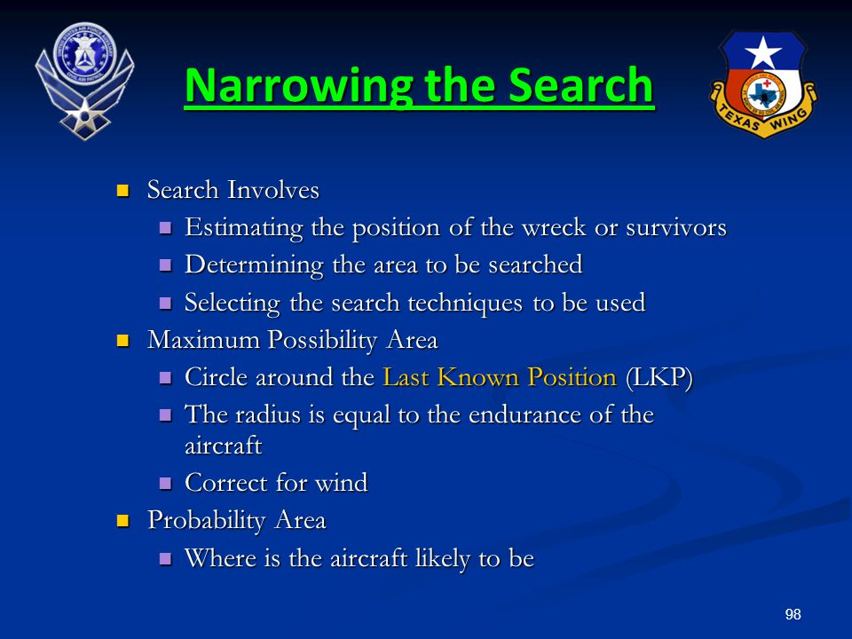 Narrowing the Search Search Involves