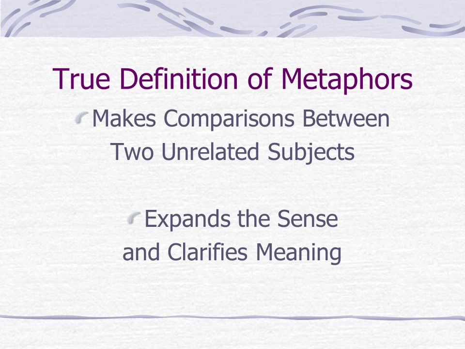 True Definition of Metaphors