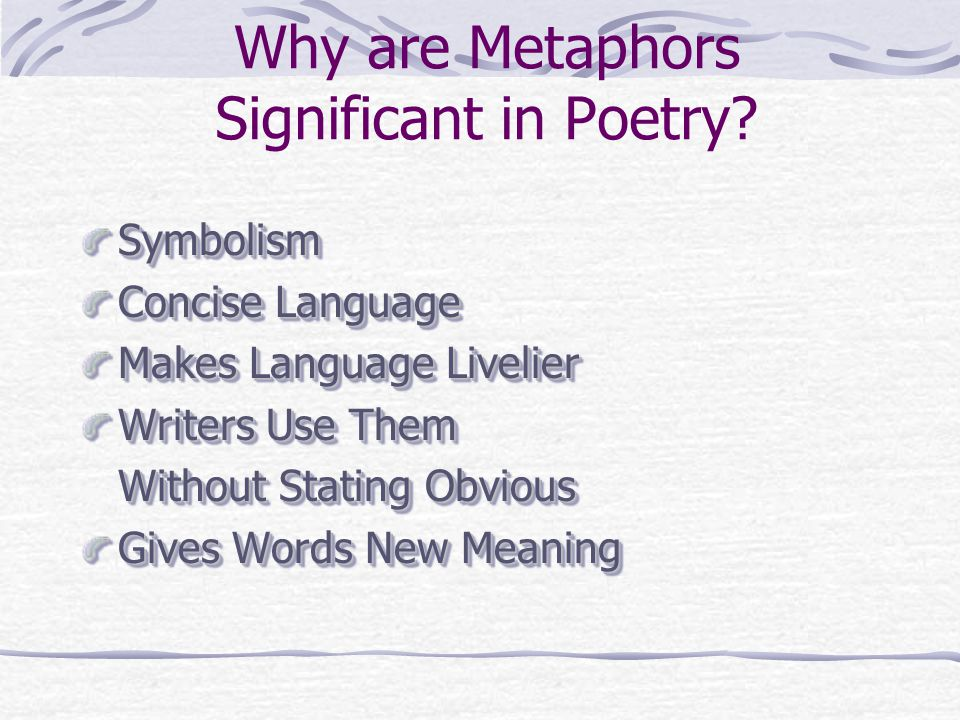Why are Metaphors Significant in Poetry
