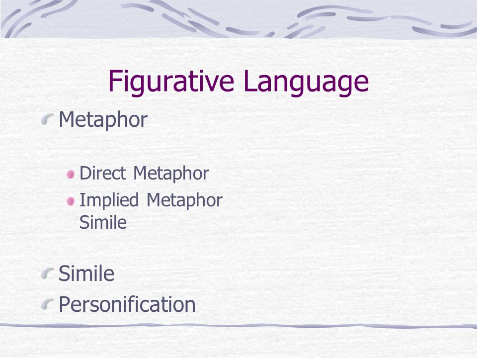 Figurative Language Metaphor Simile Personification Direct Metaphor
