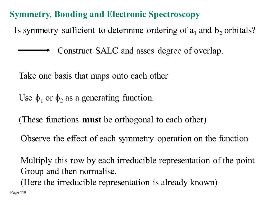 Symmetry, Bonding and Electronic Spectroscopy