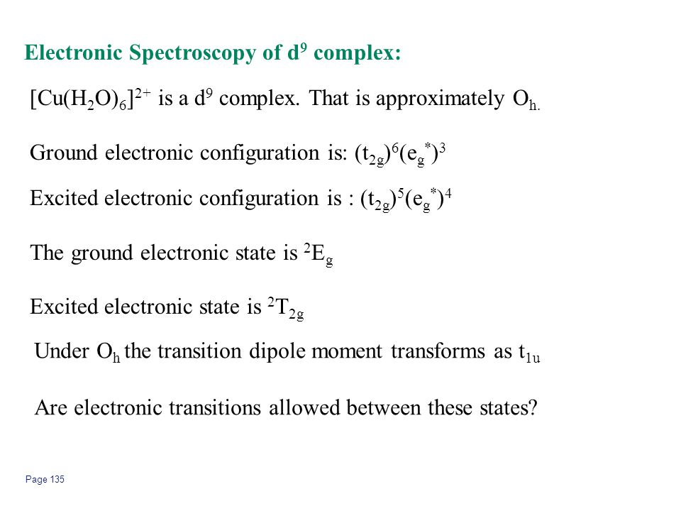 Electronic Spectroscopy of d9 complex: