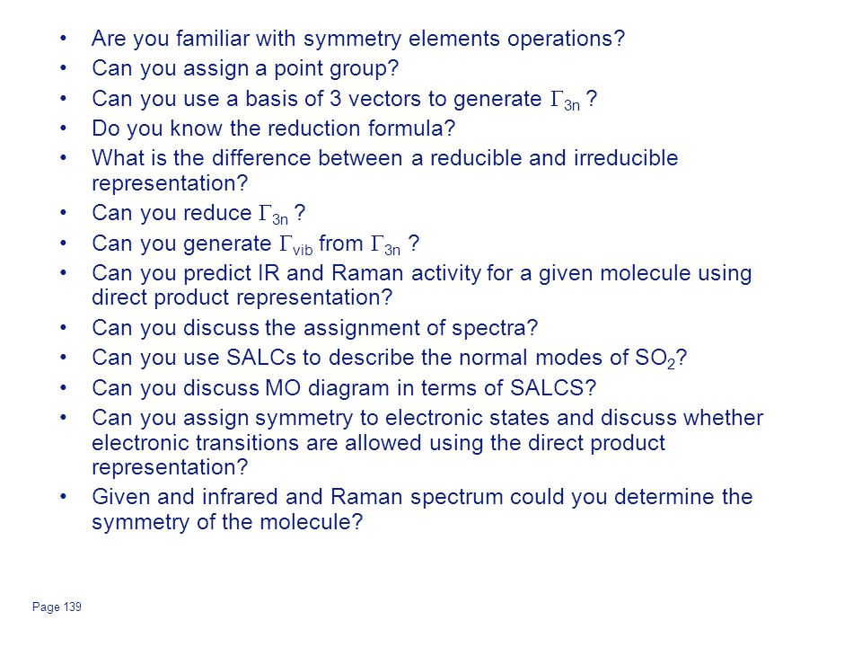 Are you familiar with symmetry elements operations