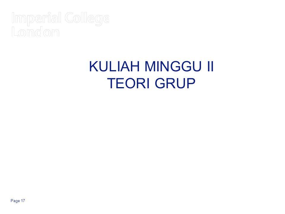 KULIAH MINGGU II TEORI GRUP