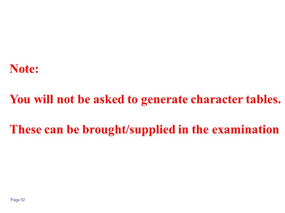 Note: You will not be asked to generate character tables.