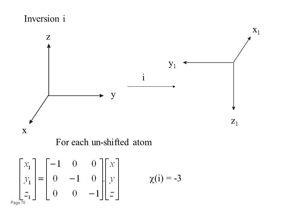 Inversion i x1 z y1 i y z1 x For each un-shifted atom c(i) = -3