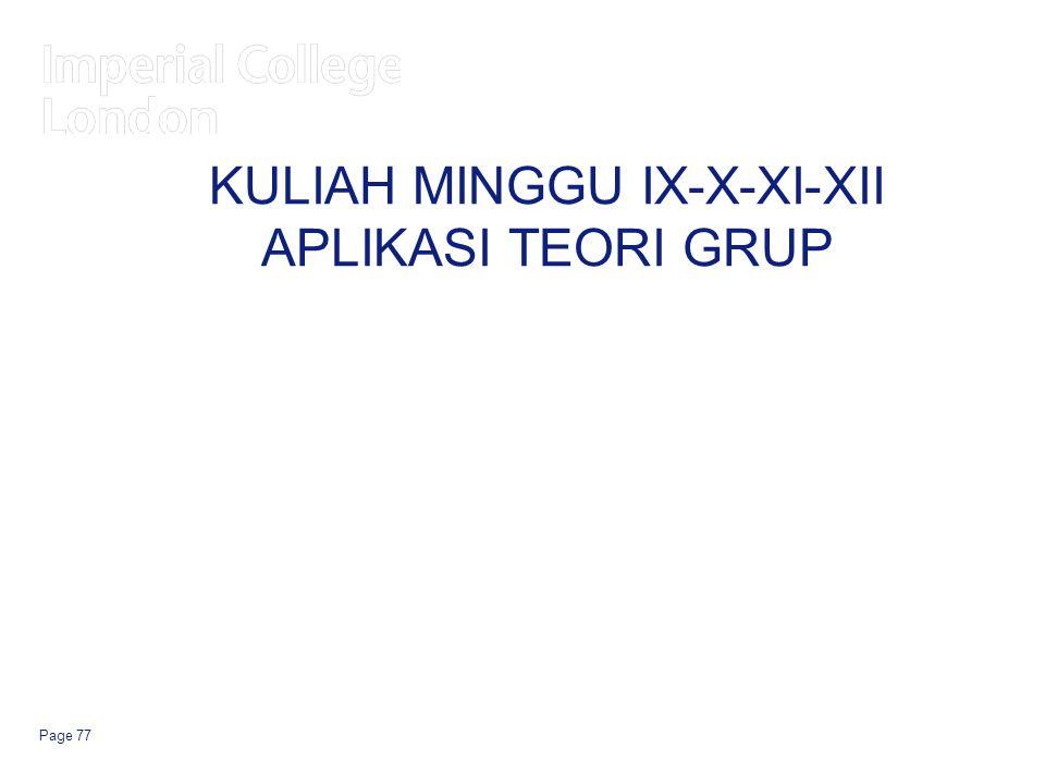 KULIAH MINGGU IX-X-XI-XII APLIKASI TEORI GRUP