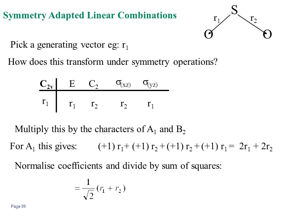 S O O Symmetry Adapted Linear Combinations r1 r2