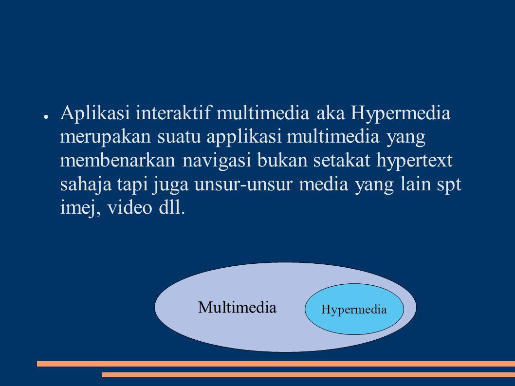 Aplikasi interaktif multimedia aka Hypermedia merupakan suatu applikasi multimedia yang membenarkan navigasi bukan setakat hypertext sahaja tapi juga unsur-unsur media yang lain spt imej, video dll.
