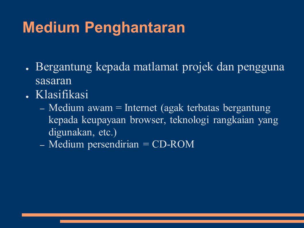 Medium Penghantaran Bergantung kepada matlamat projek dan pengguna sasaran. Klasifikasi.