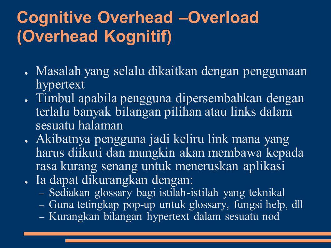 Cognitive Overhead –Overload (Overhead Kognitif)