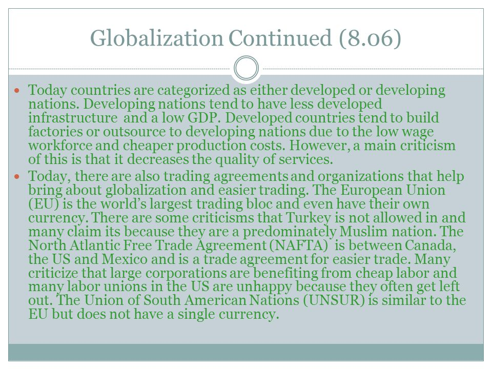 Globalization Continued (8.06)