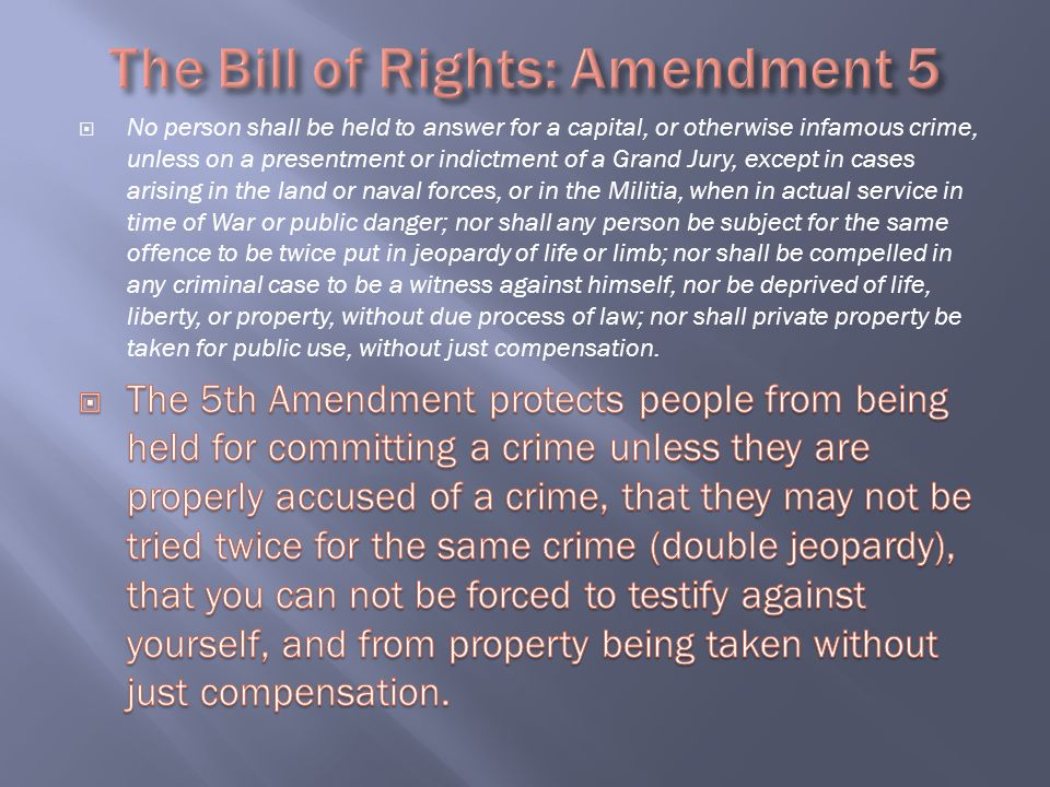 The Bill of Rights: Amendment 5