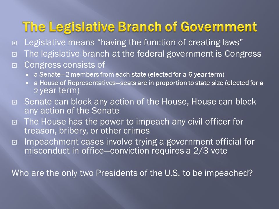 The Legislative Branch of Government