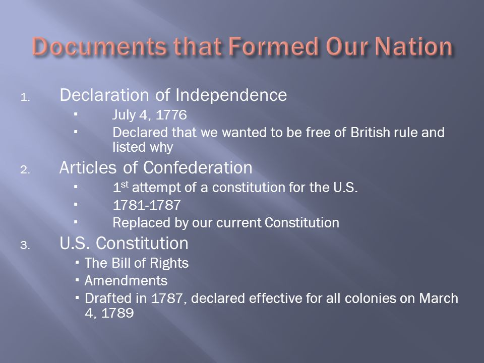 Documents that Formed Our Nation