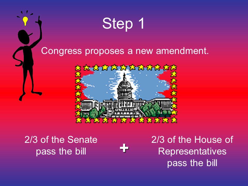+ Step 1 Congress proposes a new amendment.