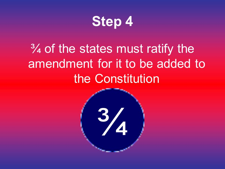 Step 4 ¾ of the states must ratify the amendment for it to be added to the Constitution ¾